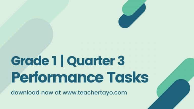 Grade 1 Performance Tasks for 3rd Quarter