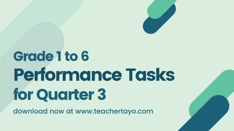 Grade 1 to 6 Performance Tasks for 3rd Quarter