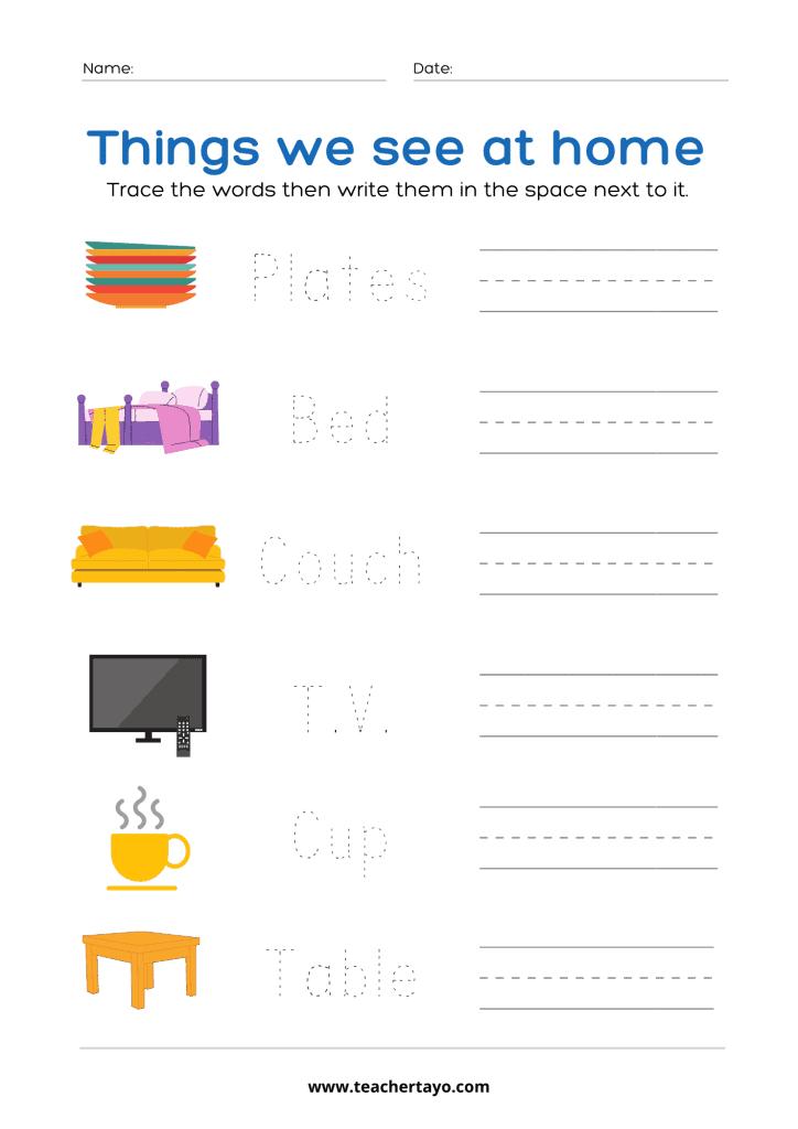Objects in School Foundational Worksheet