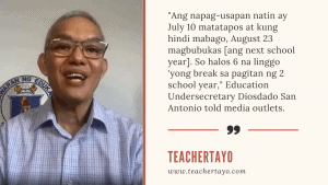 DepEd eyes August 23 as start of SY 2021-2022