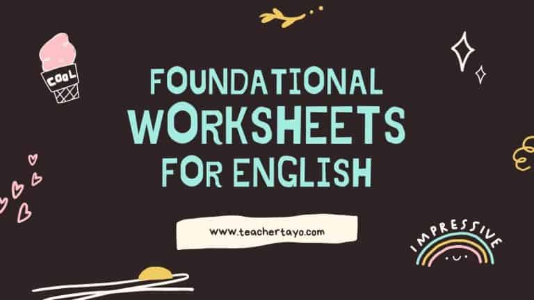 Foundational Worksheets for English